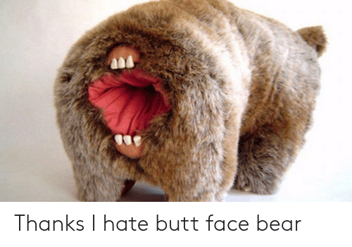 Butt, Bear, and Face: Thanks I hate butt face bear