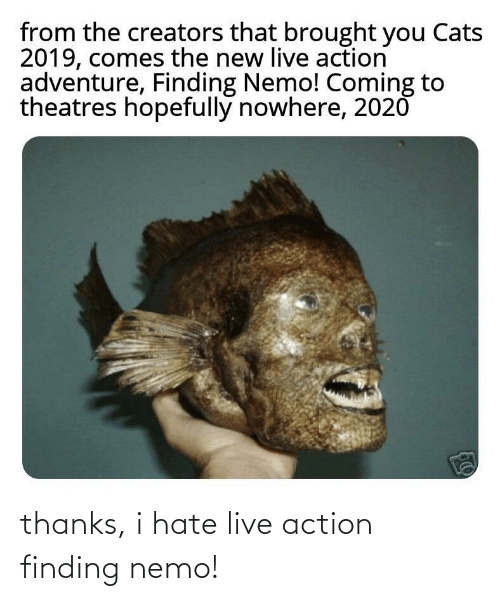 Finding Nemo: thanks, i hate live action finding nemo!