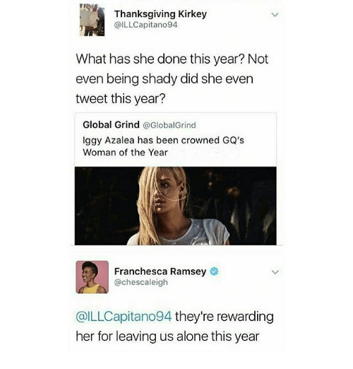 Iggy Azalea, Memes, and Iggy: Thanksgiving Kirkey  @ILLCapitano94  What has she done this year? Not  even being shady did she even  tweet this year?  Global Grind  @GlobalGrind  Iggy Azalea has been crowned GQ's  Woman of the Year  Franchesca Ramsey  @chescaleigh  @ILLCapitano94 they're rewarding  her for leaving us alone this year