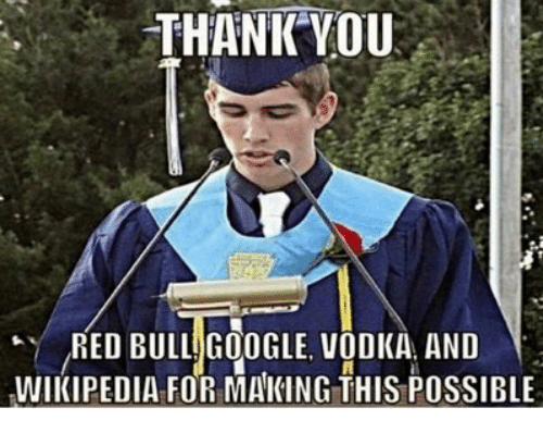 Google, Red Bull, and Wikipedia: THANKYOU  RED BULL GOOGLE VODKA AND  WIKIPEDIA FOR MAKING THIS POSSIBLE