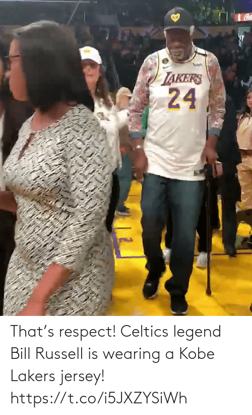 Celtics: That's respect! Celtics legend Bill Russell is wearing a Kobe Lakers jersey!   https://t.co/i5JXZYSiWh