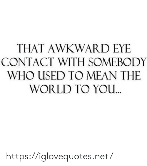 Awkward, Mean, and World: THAT AWKWARD EYE  CONTACT WITH SOMEBODY  WHO USED TO MEAN THE  WORLD TO YOu https://iglovequotes.net/