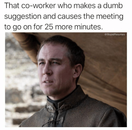 Dumb, Game of Thrones, and Who: That co-worker who makes a dumb  suggestion and causes the meeting  to go on for 25 more minutes.  StupidResumes