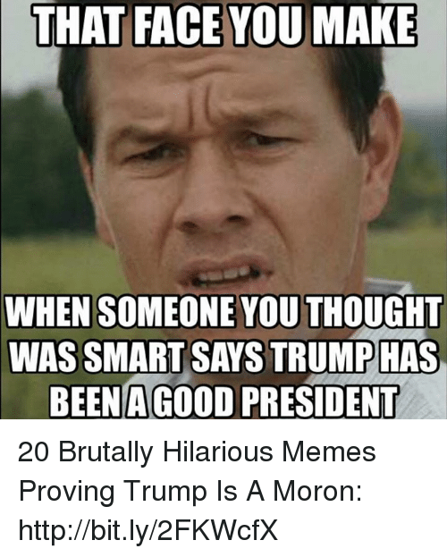 Face You Make When: THAT FACE YOU MAKE  WHEN SOMEONE YOU THOUGHT  WAS SMART SAYS TRUMPHAS  BEEN A GOo0D PRESIDENT 20 Brutally Hilarious Memes Proving Trump Is A Moron: http://bit.ly/2FKWcfX
