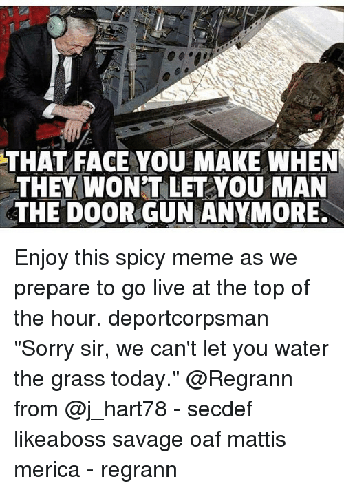 """Meme, Memes, and Savage: THAT FACE YOU MAKE WHEN  THEY WONT LET YOU MAN  THE DOOR GUN ANYMORE. Enjoy this spicy meme as we prepare to go live at the top of the hour. deportcorpsman """"Sorry sir, we can't let you water the grass today."""" @Regrann from @j_hart78 - secdef likeaboss savage oaf mattis merica - regrann"""