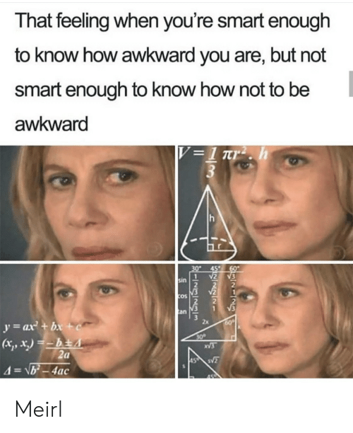 Awkward, That Feeling When, and MeIRL: That feeling when you're smart enough  to know how awkward you are, but not  smart enough to know how not to be  awkward  V =1 rr2 . h  3  30  45  60  2  1  sin  V2  COS  V3  an  y=ax + bx +c  60  30  XV3  2a  45 S  4=\b-4ac Meirl