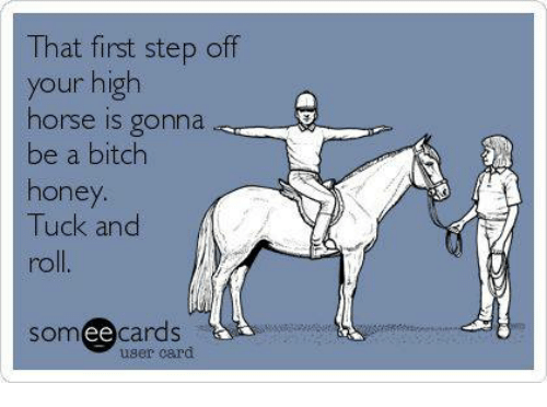 high horse: That first step off  your high  horse is gonna  be a bitch  honey  Tuck and  somee cards  user card