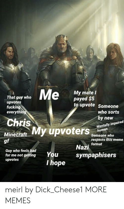 Feels Bad: That guy who  upvotes  fucking  everyth  My mate l  payed $5  to upvote Someone  uters  who sorts  by new  Mentally impaired  Chris  human  Minecraft  gf  Someone who  respects this meme  . format  Guy who feels bad  for me not gettingYou  upvotes  Nazi  sympaphisers  I hope meirl by Dick_Cheese1 MORE MEMES
