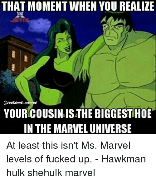 ms marvel: THAT MOMENT WHEN YOU REALIZE  areakomic memes  YOUR COUSIN IS THE BIGGEST HOE  IN THE MARVEL UNIVERSE At least this isn't Ms. Marvel levels of fucked up. - Hawkman hulk shehulk marvel