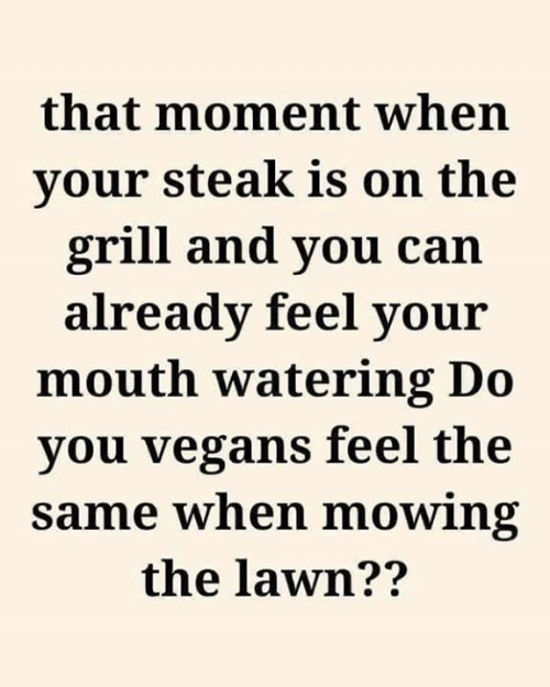 vegans: that moment when  your steak is on the  grill and you can  already feel your  mouth watering Do  you vegans feel the  same when mowing  the lawn??