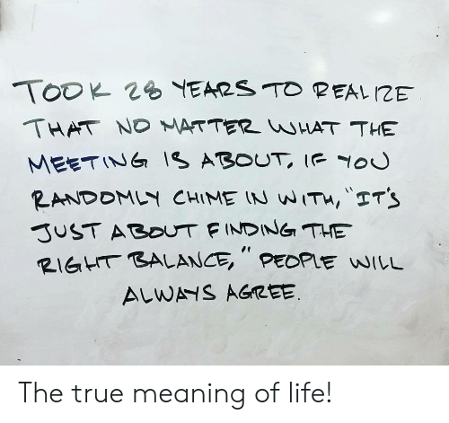 """meaning of life: THAT ND ATTER HAT THE  MEETINIs ABOUT Iou  RIGHT BALANCE """", PEDPlE WILL  ALW AGREE The true meaning of life!"""
