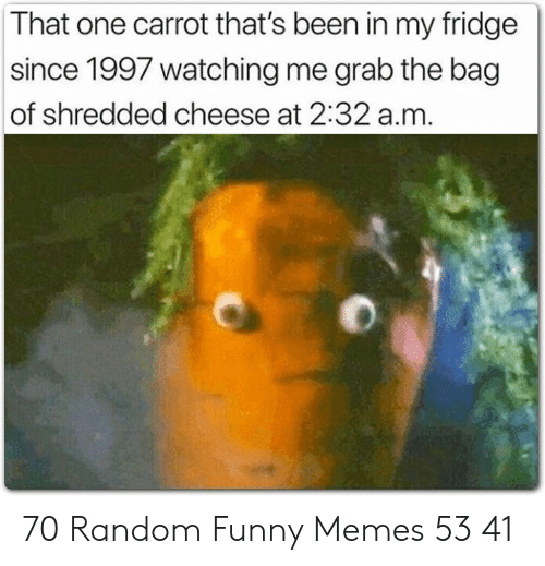 fridge: That one carrot that's been in my fridge  since 1997 watching me grab the bag  of shredded cheese at 2:32 a.m 70 Random Funny Memes 53 41