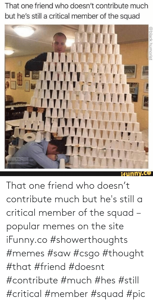 Squad: That one friend who doesn't contribute much but he's still a critical member of the squad – popular memes on the site iFunny.co #showerthoughts #memes #saw #csgo #thought #that #friend #doesnt #contribute #much #hes #still #critical #member #squad #pic