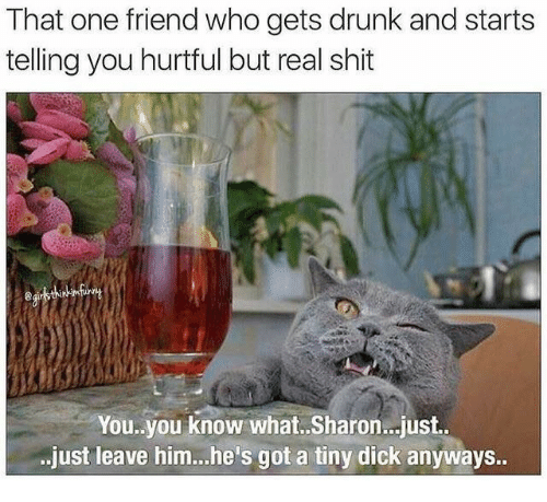 Drunk, Got, and Who: That one friend who gets drunk and starts  telling you hurtful but real shit  You.you know what.. Sharon..just.  just leave him..he's got a tiny dick anyways..