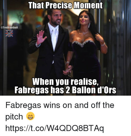 pitching: That Precise Moment  @TrollFoothall  When you realise,  Fabregas has 2 Ballon d'Ors Fabregas wins on and off the pitch 😁 https://t.co/W4QDQ8BTAq