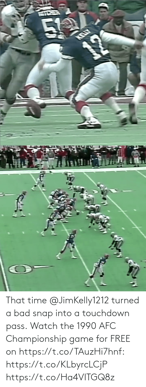 Championship: That time @JimKelly1212 turned a bad snap into a touchdown pass.  Watch the 1990 AFC Championship game for FREE on https://t.co/TAuzHi7hnf: https://t.co/KLbyrcLCjP https://t.co/Ha4VITGQ8z