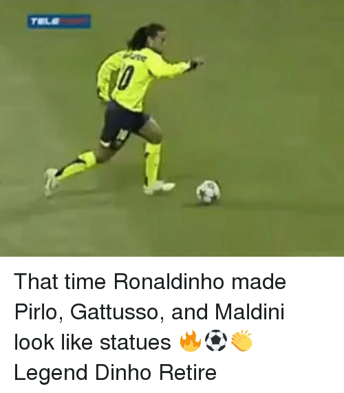 pirlo: That time Ronaldinho made Pirlo, Gattusso, and Maldini look like statues 🔥⚽️👏 Legend Dinho Retire