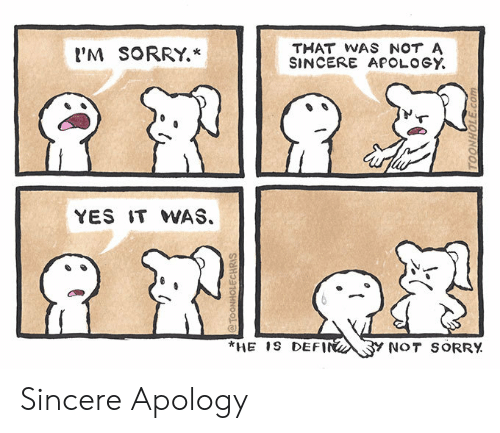Yes It: THAT WAS NOT A  SINCERE APOLOGY  'M SORRY.*  YES IT WAS.  *HE 1S DEFIN  Y NOT SORRY  @TOONHOLECHRIS  TOONHOLE.com Sincere Apology