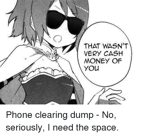 I Need The: THAT WASN'T  VERY CASH  MONEY OF  YOu Phone clearing dump - No, seriously, I need the space.