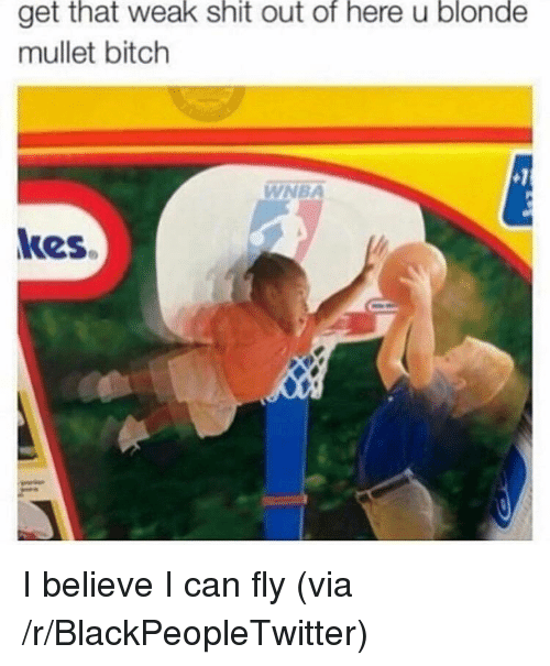 i can fly: that  weak  shit  of  here  blonde  get out u  mullet bitch  WNBA  kes <p>I believe I can fly (via /r/BlackPeopleTwitter)</p>