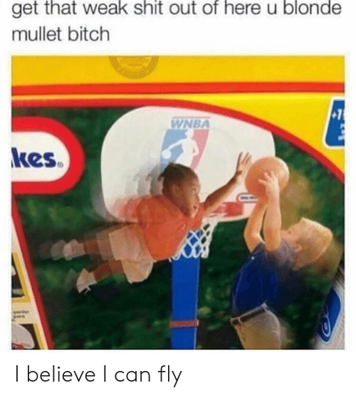 i can fly: that  weak  shit  of  here  blonde  get out u  mullet bitch  WNBA  kes I believe I can fly