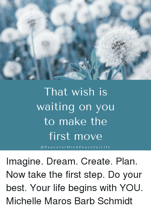 maro: That wish is  waiting on you  to make the  first move  P e a c e f u I M i n d P e a c e f u l L i f e Imagine. Dream. Create. Plan. Now take the first step. Do your best. Your life begins with YOU. Michelle Maros Barb Schmidt