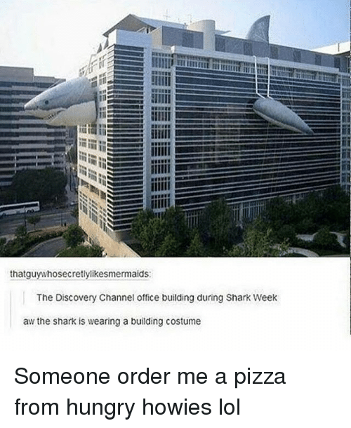 discovery channel: thatguy whosecretlylikesmermaids:  The Discovery Channel office building during Shark Week  aw the shark is wearing a building costume Someone order me a pizza from hungry howies lol
