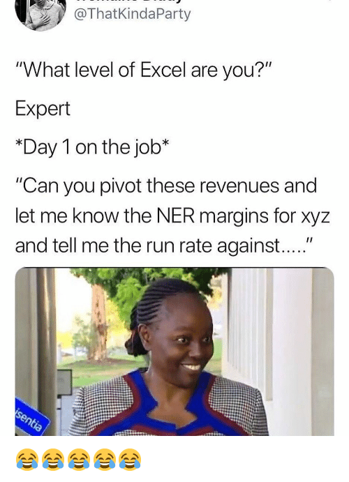 "xyz: ThatKindaParty  ""What level of Excel are you?""  Expert  *Day 1 on the job*  ""Can you pivot these revenues and  let me know the NER margins for xyz  and tell me the run rate against...."" 😂😂😂😂😂"