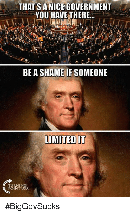 Memes, Government, and 🤖: THAT'S ANICE GOVERNMENT  YOU HAVE THERE...  BE A SHAME IFSOMEONE  LIMTEDIT  URNING  POINT USA #BigGovSucks