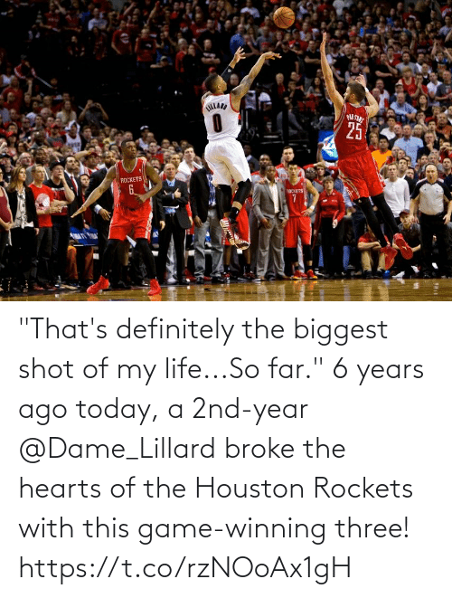 """rockets: """"That's definitely the biggest shot of my life...So far.""""  6 years ago today, a 2nd-year @Dame_Lillard broke the hearts of the Houston Rockets with this game-winning three!   https://t.co/rzNOoAx1gH"""