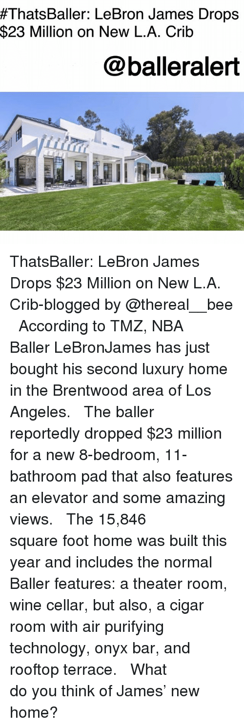 LeBron James, Memes, and Nba:  #ThatsBaller: LeBron James Drops  $23 Million on New L.A. Crib  @balleralert ThatsBaller: LeBron James Drops $23 Million on New L.A. Crib-blogged by @thereal__bee ⠀⠀⠀⠀⠀⠀⠀⠀⠀ ⠀⠀ According to TMZ, NBA Baller LeBronJames has just bought his second luxury home in the Brentwood area of Los Angeles. ⠀⠀⠀⠀⠀⠀⠀⠀⠀ ⠀⠀ The baller reportedly dropped $23 million for a new 8-bedroom, 11-bathroom pad that also features an elevator and some amazing views. ⠀⠀⠀⠀⠀⠀⠀⠀⠀ ⠀⠀ The 15,846 square foot home was built this year and includes the normal Baller features: a theater room, wine cellar, but also, a cigar room with air purifying technology, onyx bar, and rooftop terrace. ⠀⠀⠀⠀⠀⠀⠀⠀⠀ ⠀⠀ What do you think of James' new home?