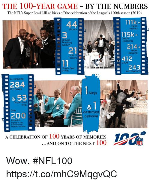 Anaconda, Bailey Jay, and Memes: THE 100-YEAR GAME BY THE NUMBERS  The NFL's Super Bowl LIlII ad kicks off the celebration of the League's 100th season (2019)  111k  yards  rushed  players  -115k-  ground-  breaking  Women  yards  recieving  214+  : 21  miles  passing  Hall of  Famers  412  243  sacks  Super Bowl  MVPs  interceptions  A combined  284  53  200  Pro Bowls  Ninja  Super Bowl  rings  &1  Over  destroyed  ballroom  tuxedos  thanks to the  Collection by  Michael Strahan  A CELEBRATION OF 100 YEARS OF MEMORIES  AND ON TO THE NEXT IOO  竈 Wow. #NFL100 https://t.co/mhC9MqgvQC