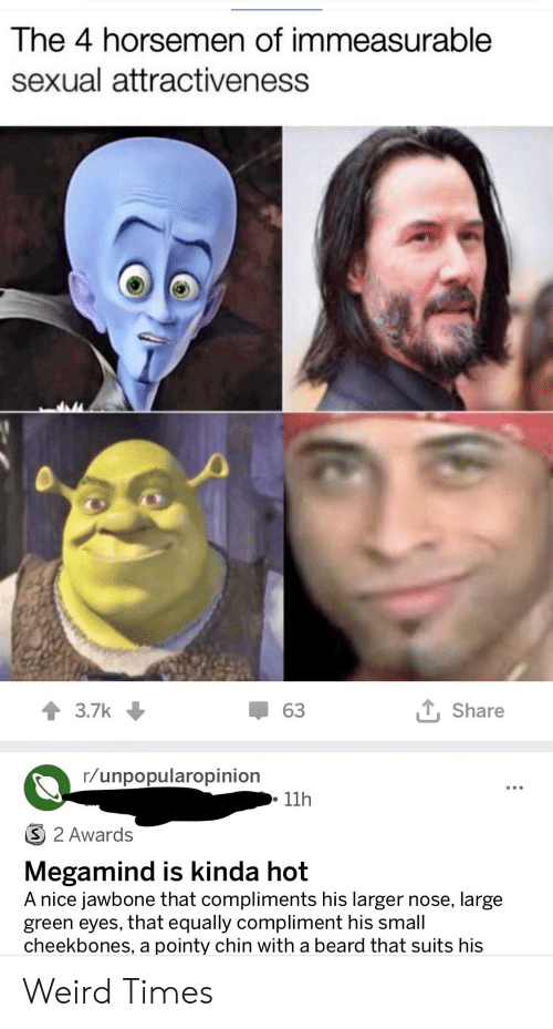 jawbone: The 4 horsemen of immeasurable  sexual attractiveness  63  Share  3.7k  r/unpopularopinion  11h  3 2 Awards  Megamind is kinda hot  A nice jawbone that compliments his larger nose, large  green eyes, that equally compliment his small  cheekbones, a pointy chin with a beard that suits his Weird Times
