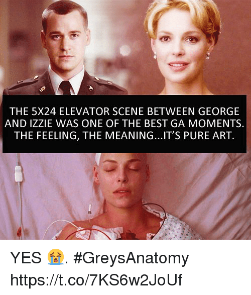 Memes, Best, and Meaning: THE 5X24 ELEVATOR SCENE BETWEEN GEORGE  AND IZZIE WAS ONE OF THE BEST GA MOMENTS.  THE FEELING, THE MEANING...IT'S PURE ART. YES 😭. #GreysAnatomy https://t.co/7KS6w2JoUf