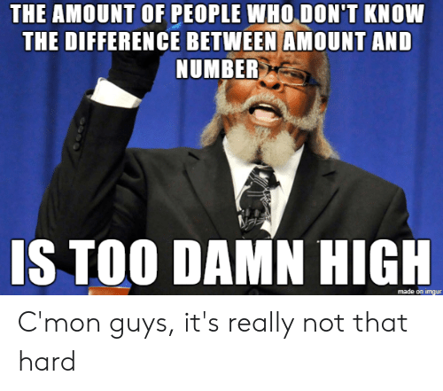Imgur, Advice Animals, and Who: THE AMOUNT OF PEOPLE WHO DON'T KNOW  THE DIFFERENCE BETWEEN AMOUNT AND  NUMBER  IS TOO DAMN HIGH  made on imgur C'mon guys, it's really not that hard