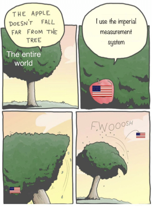 Apple, Fall, and Tree: THE APPLE  use the imperial  DOESN'T FALL  FAR FROM THE  measurement  TREE  system  The entire  world  FWOOOSH