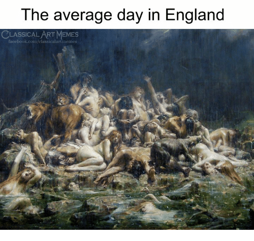 England, Facebook, and Memes: The average day in England  CLASSICAL ART MEMES  facebook.com/classicalartmemes