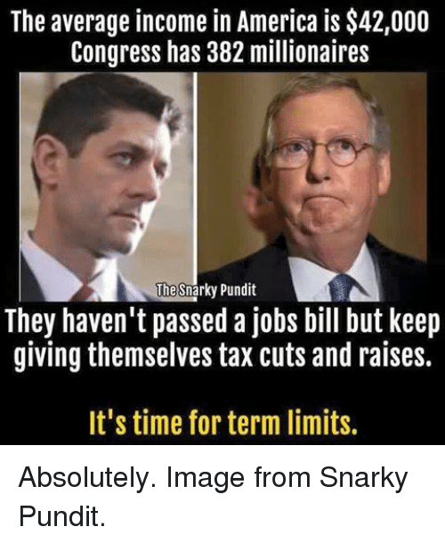 pundit: The average income in America is $42,000  Congress has 382 millionaires  The  Snarky Pundit  They haven't passed a jobs bill but keep  giving themselves tax cuts and raises.  It's time for term limits. Absolutely. Image from Snarky Pundit.