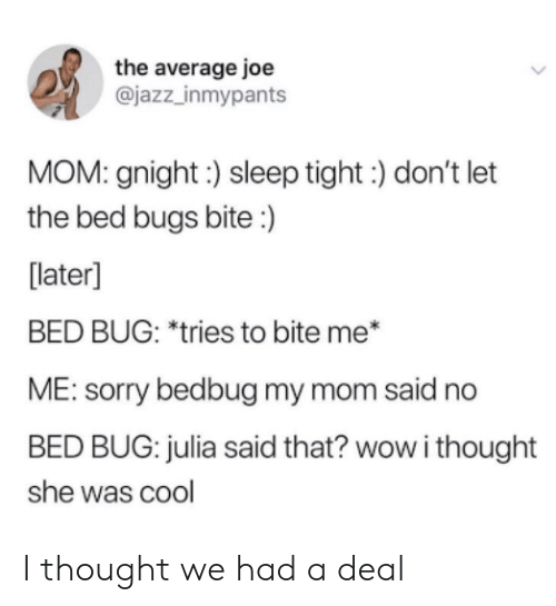 julia: the average joe  @jazz_inmypants  MOM: gnight:) sleep tight) don't let  the bed bugs bite :)  [later]  BED BUG: *tries to bite me*  ME: sorry bedbug my mom said no  BED BUG: julia said that? wow i thought  she was cool I thought we had a deal