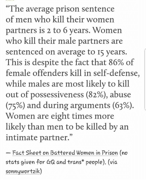 """Memes, Prison, and Women: """"The average prison sentence  of men who kill their women  partners is 2 to 6 years. Women  who kill their male partners are  sentenced on average to I5 years.  This is despite the fact that 86% of  female offenders kill in self-defense,  while males are most likely to kill  out of possessiveness (82%), abuse  (75%) and during arguments (63%)  Women are eight times more  likelv than men to be killed by an  intimate partner.""""  Fact Sheet on Battered Women in Prison (no  stats given for GQ and trans* people). (vic  sonnywortzik)"""
