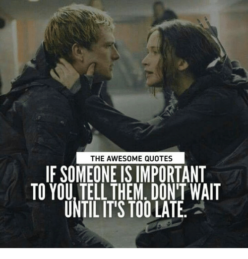 awesome quotes: THE AWESOME QUOTES  IF SOMEONE IS IMPORTANT  TO YOU, TELL THEM, DON'T WAIT  UNTIL IT'S TOO LATE.