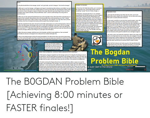 Bible: The B0GDAN Problem Bible [Achieving 8:00 minutes or FASTER finales!]