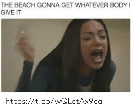 Memes, Beach, and 🤖: THE BEACH GONNA GET WHATEVER BODY  GIVE IT https://t.co/wQLetAx9ca