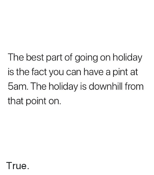 Memes, True, and Best: The best part of going on holiday  is the fact you can have a pint at  5am. The holiday is downhill from  that point on. True.