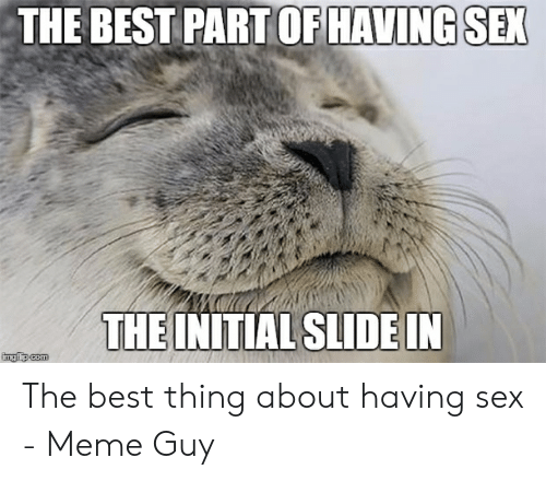 Best Sex Memes: THE BEST PART OF HAVING SEX  THE INITIAL SLIDE IN  imgiip com The best thing about having sex - Meme Guy