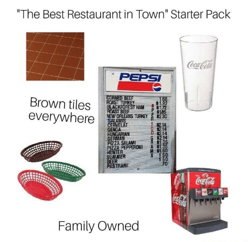 """Beef, Beer, and Coca-Cola: """"The Best Restaurant in Town"""" Starter Pack  Coca-Cola  44  PEPSI  CORNED BEEF  ROAST TURKEY  BLACKFOREST HAM  ROAST BEEF  NEW ORLEANS TURKEY  SALAMIS  CERVELAT  GENOA  HUNGARIAN  GERMAN  PIZZA SALAM  PIZZA PEPPERONI  HUNTER  SUMMER  BEER  PASTRAMI  168  Brown tiles  $185  $2 30  everywhere  1214  0 $214  $2.14  G $2.14  $1 35  $1.35  M S150  S 150  150  70  Coca-Cola  Family Owned"""