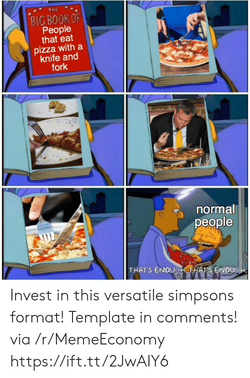 Fork: THE  BIG BOOK OF  People  that eat  pizza with a  knife and  fork  normal  реople  THAT'S ENOUGH THATS ENOUGH Invest in this versatile simpsons format! Template in comments! via /r/MemeEconomy https://ift.tt/2JwAIY6