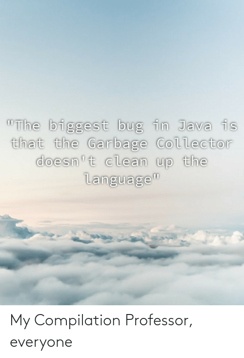 "Java: ""The biggest bug in Java is  that the Garbage Collector  doesn't clean up the  language"" My Compilation Professor, everyone"