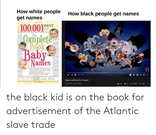 slave: the black kid is on the book for advertisement of the Atlantic slave trade