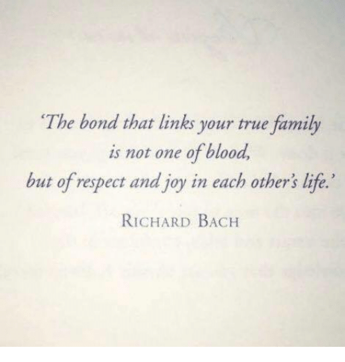 bach: The bond that links your true family  is not one of blood  but of respect and joy in each other's life.'  RICHARD BACH